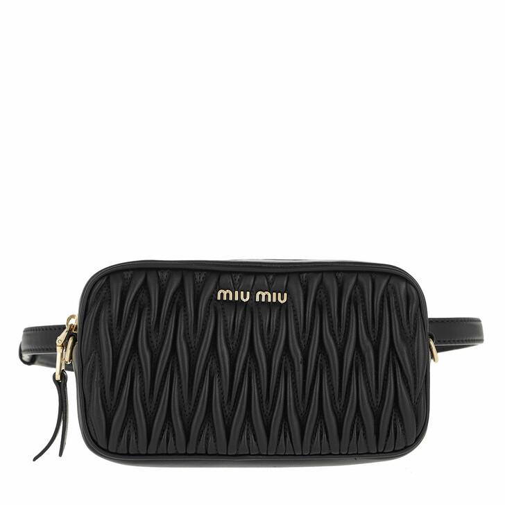 Handtasche, Miu Miu, Matelassé Belt Bag Leather Black