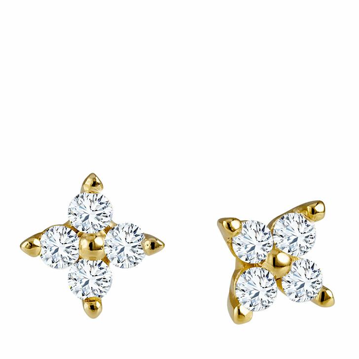 earrings, diamondline, Stud Earrings 375 8 Diamonds total approx. 0,10 ct Yellow Gold