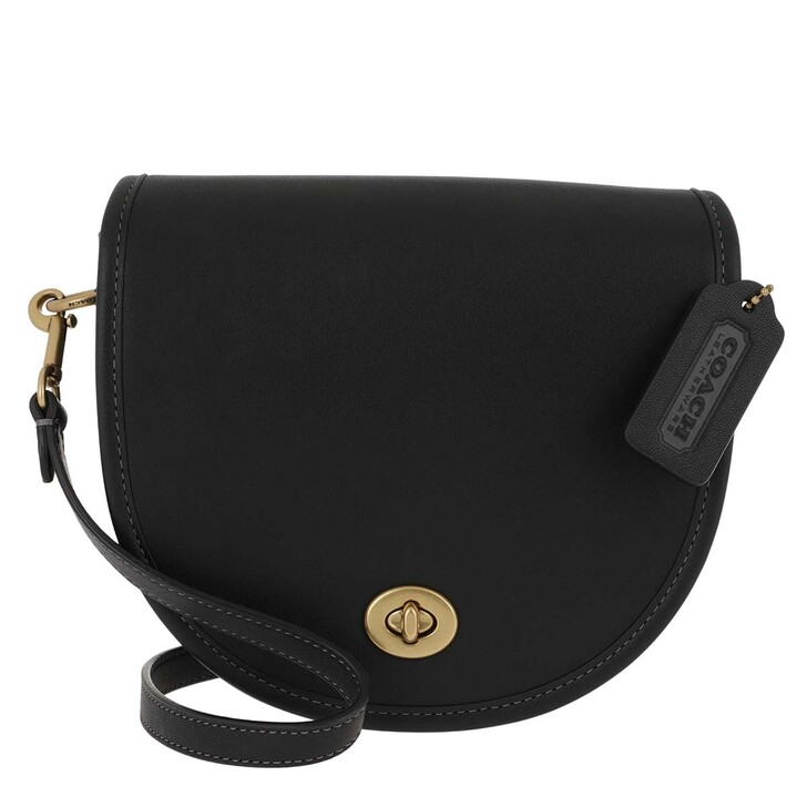 Handtasche, Coach, Turnlock Saddle Bag Black