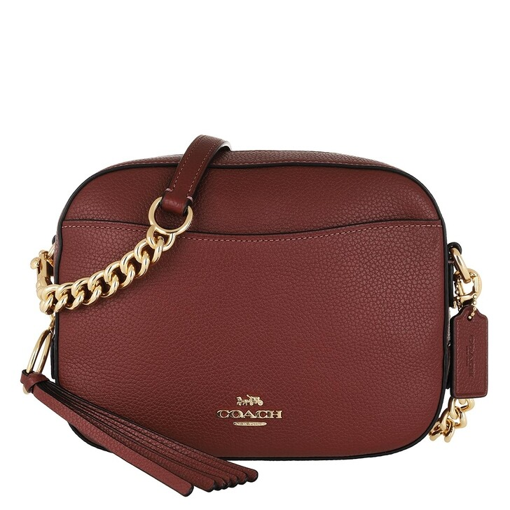 Handtasche, Coach, Polished Pebble Leather Camera Bag Gd/Wine