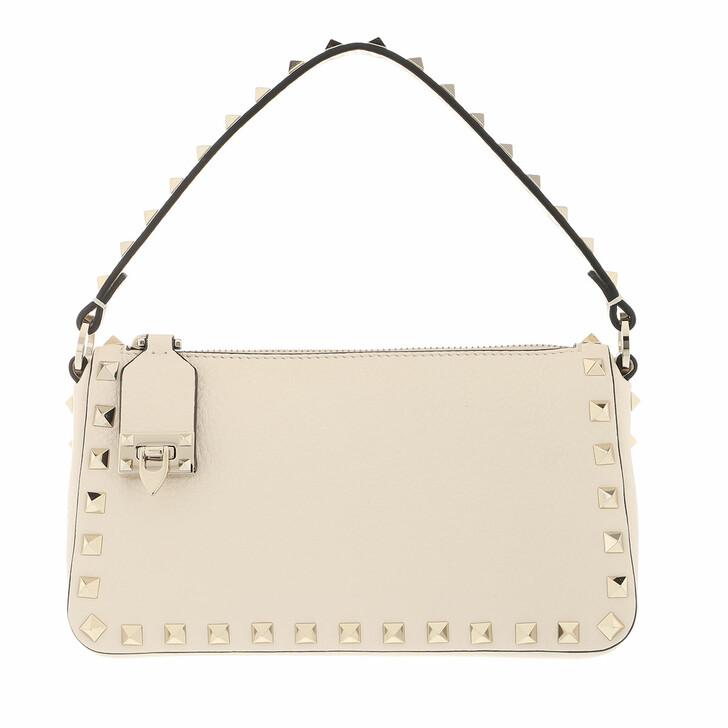 bags, Valentino Garavani, Small Rockstud Satchel Bag Leather Light Ivory