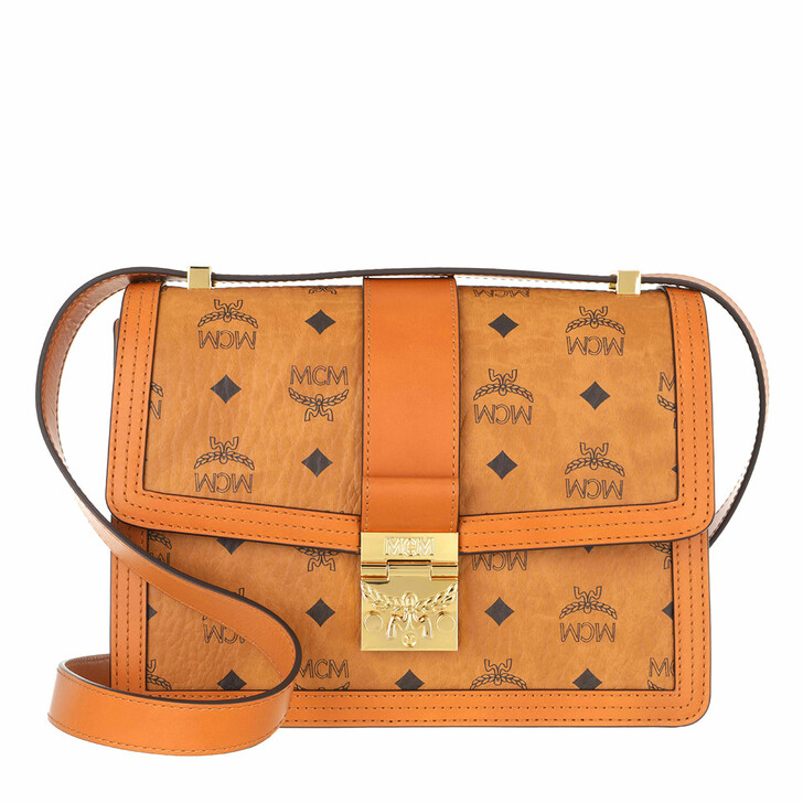 Handtasche, MCM, Tracy Visetos Shoulder Medium  Cognac
