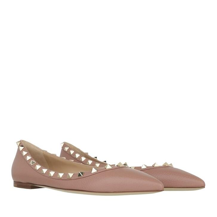 shoes, Valentino Garavani, Rockstud Grained Leather Ballerina Dark Nude