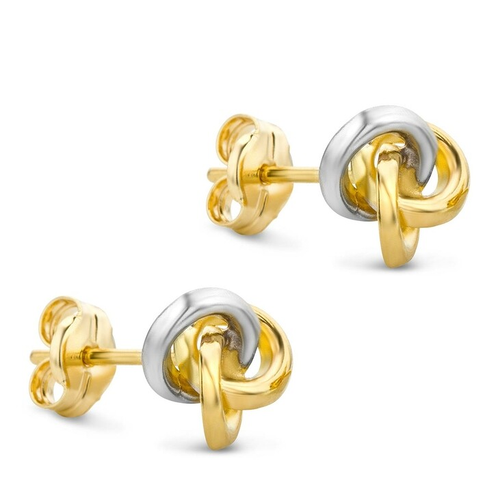 Ohrring, DIAMADA, 14KT Bi Colour Earrings Yellow Gold