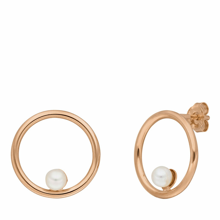 earrings, Leaf, Studs Circle with Pearl Rose gold