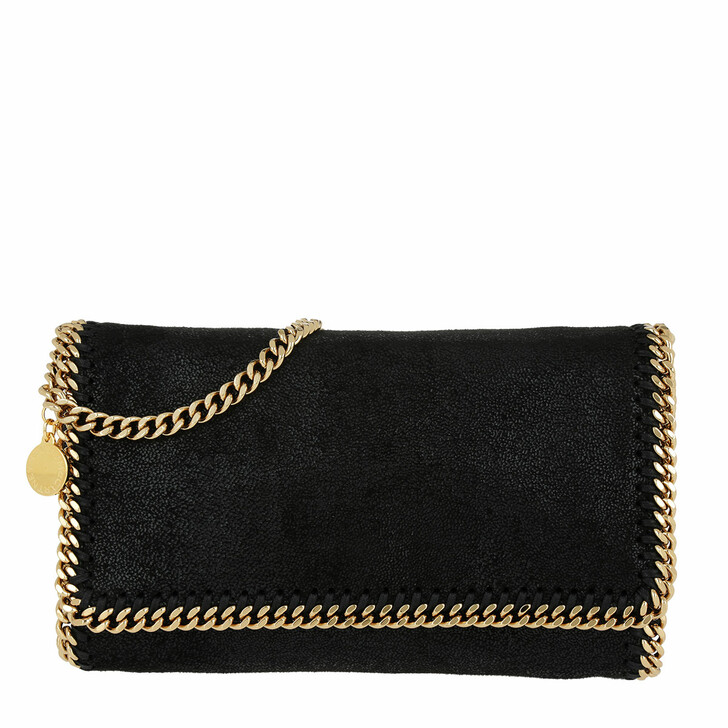 Handtasche, Stella McCartney, Falabella Shaggy Fold Clutch Small Black/Gold