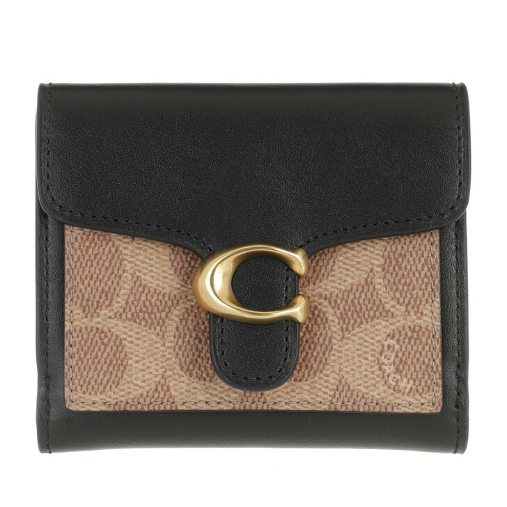 wallets, Coach, Colorblock Coated Canvas Tabby Small Wallet B4/Tan Black