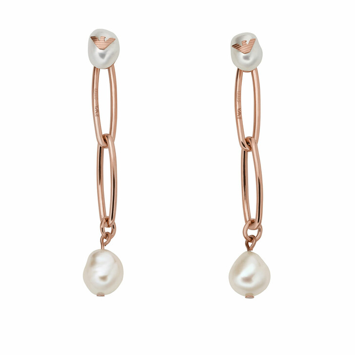 Ohrring, Emporio Armani, Stainless Steel Drop Earrings Rose Gold-Tone