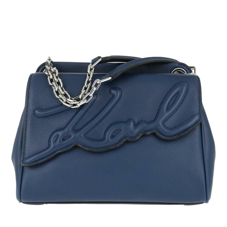 Handtasche, Karl Lagerfeld, Signature Soft Shoulderbag Washed Nvy