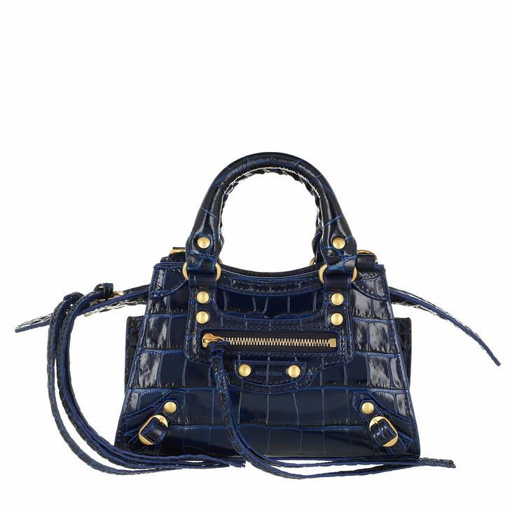 Handtasche, Balenciaga, Neo Classic City Nano Bag Embossed Croc Blue
