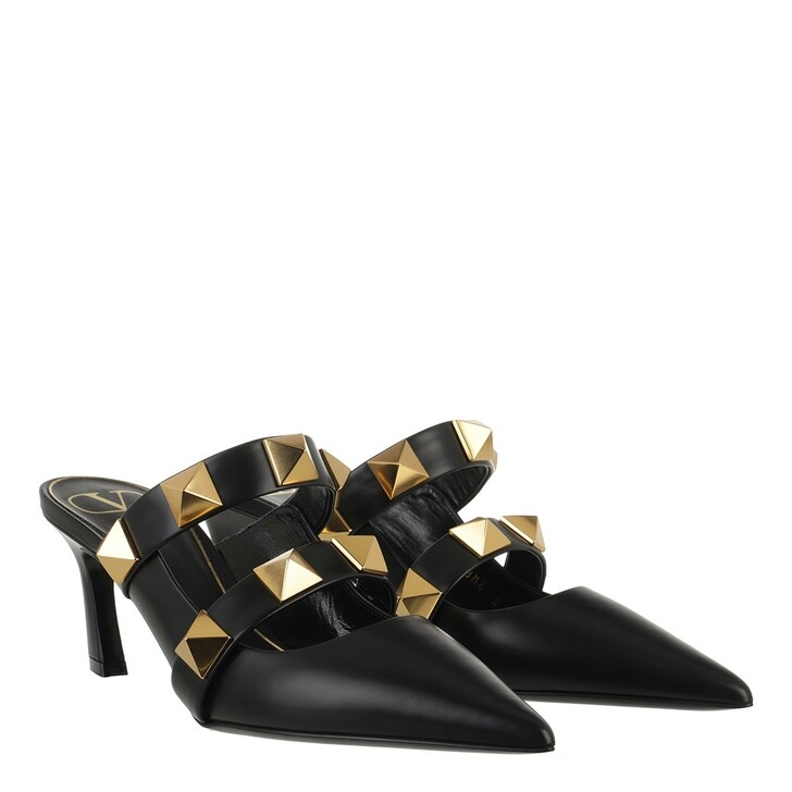 Schuh, Valentino Garavani, Roman Stud Mules Leather Black