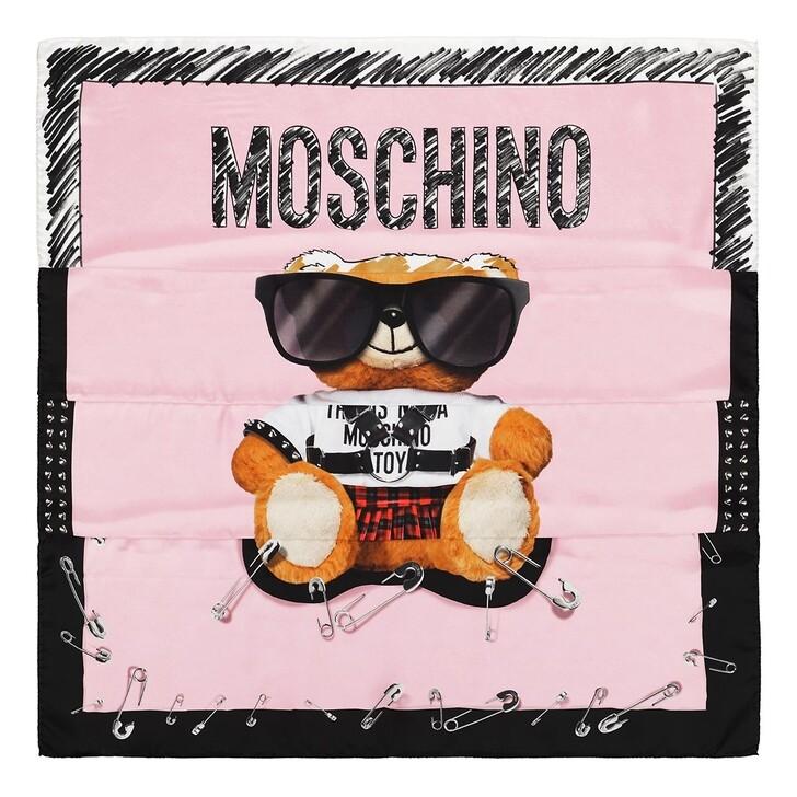 scarves, Moschino, Foulard Orso 90X90 Fantasia Rosa