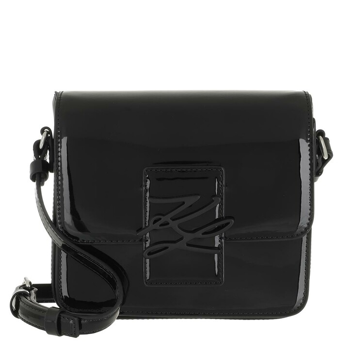 bags, Karl Lagerfeld, Autograph Crossbody Patent Black