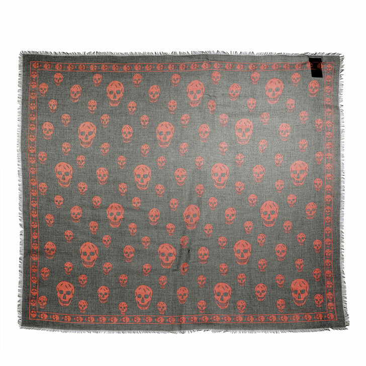 scarves, Alexander McQueen, Skull Scarf 104X120 Modal/Silk Loden/Orange