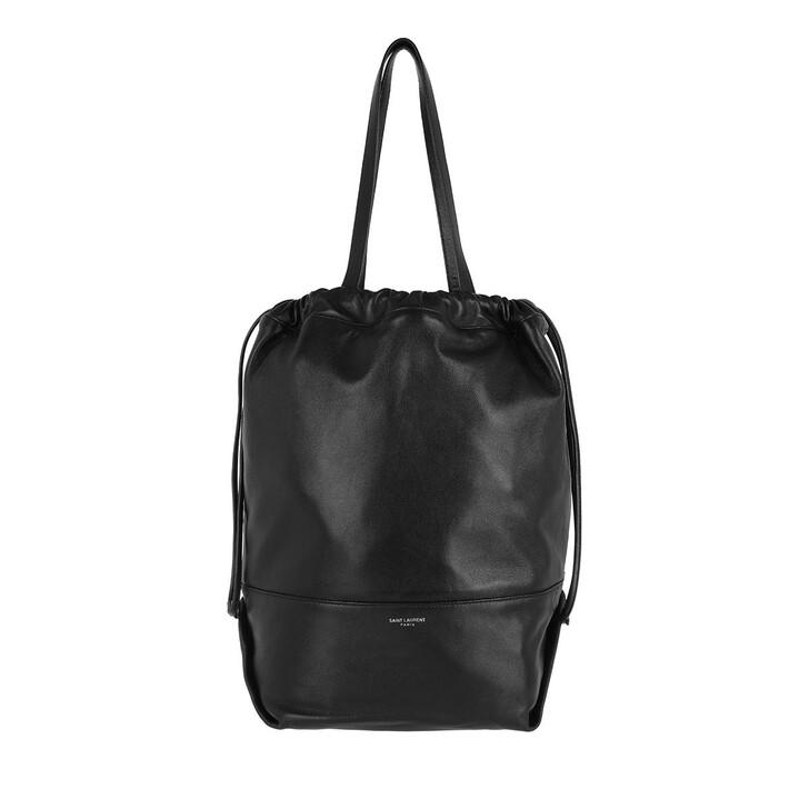Handtasche, Saint Laurent, Teddy Shopping Bag Leather Black