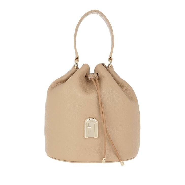 Handtasche, Furla, Sleek Small Drawstring Sand Toni Cognac