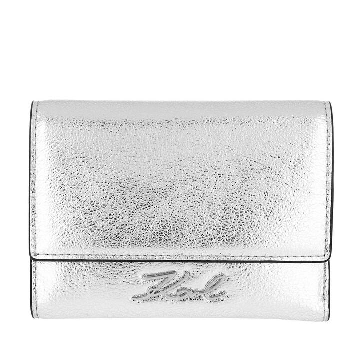 wallets, Karl Lagerfeld, Signature Met Flap Wallet Silver