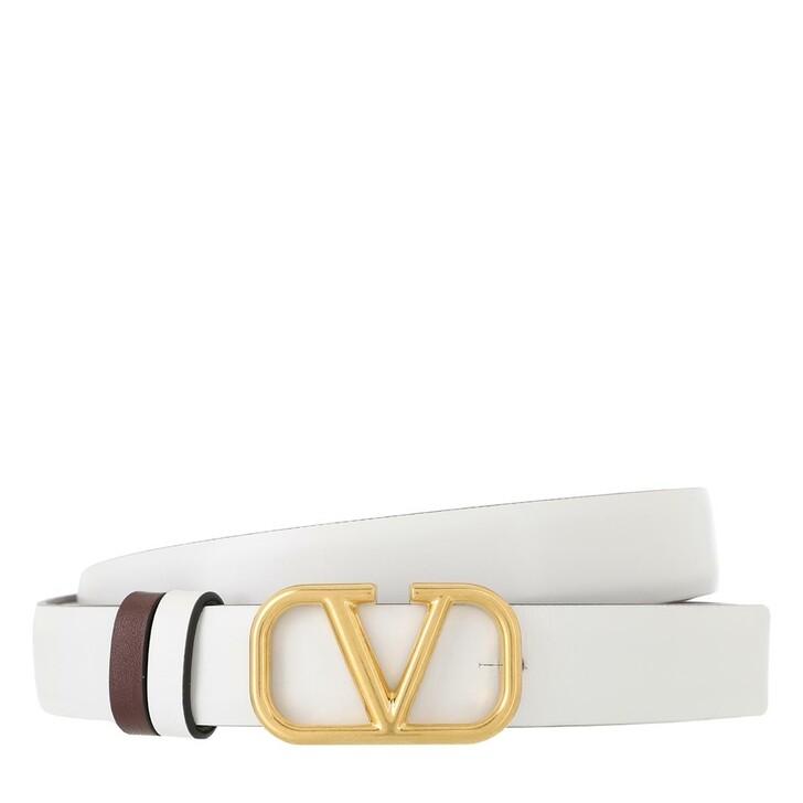 Gürtel, Valentino Garavani, V Logo Belt Calfskin White Red