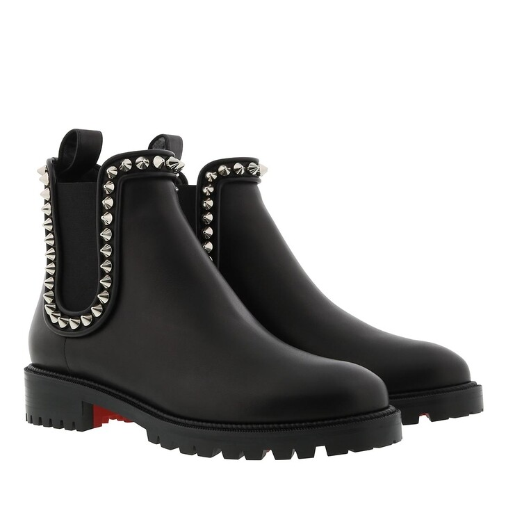 Schuh, Christian Louboutin, Capahutta Studded Boots Leather Black