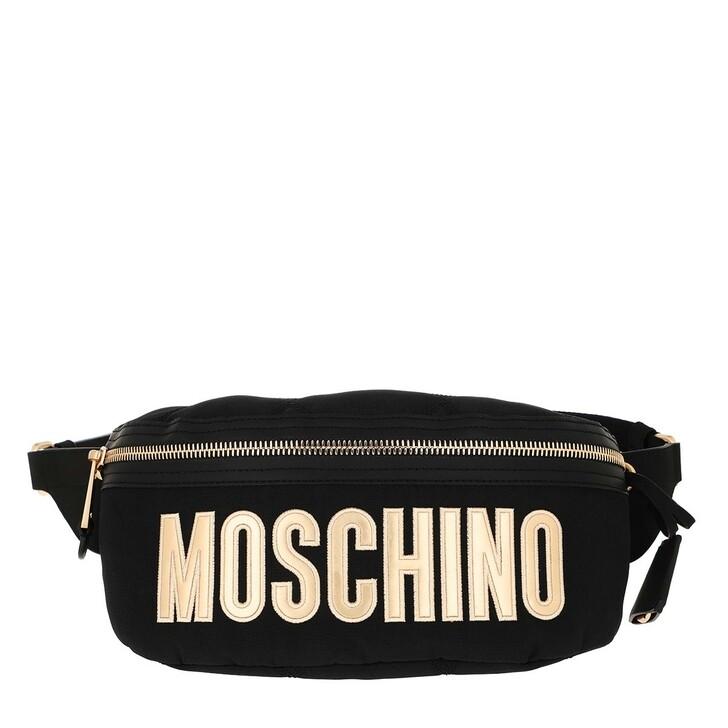 Handtasche, Moschino, Belt Bag Nylon Logo Black Fantasy Print