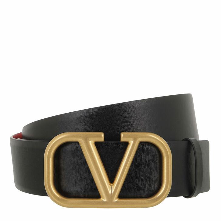 belts, Valentino Garavani, Reversible V Logo Belt Glossy Calfskin Black/Red