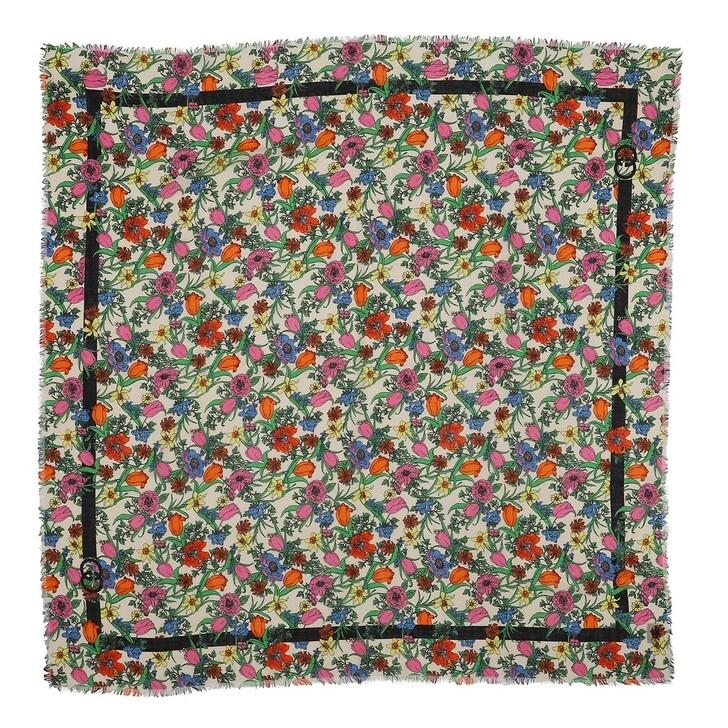 Schal, Gucci, Flora Pop Print Wool Scarf Ivory