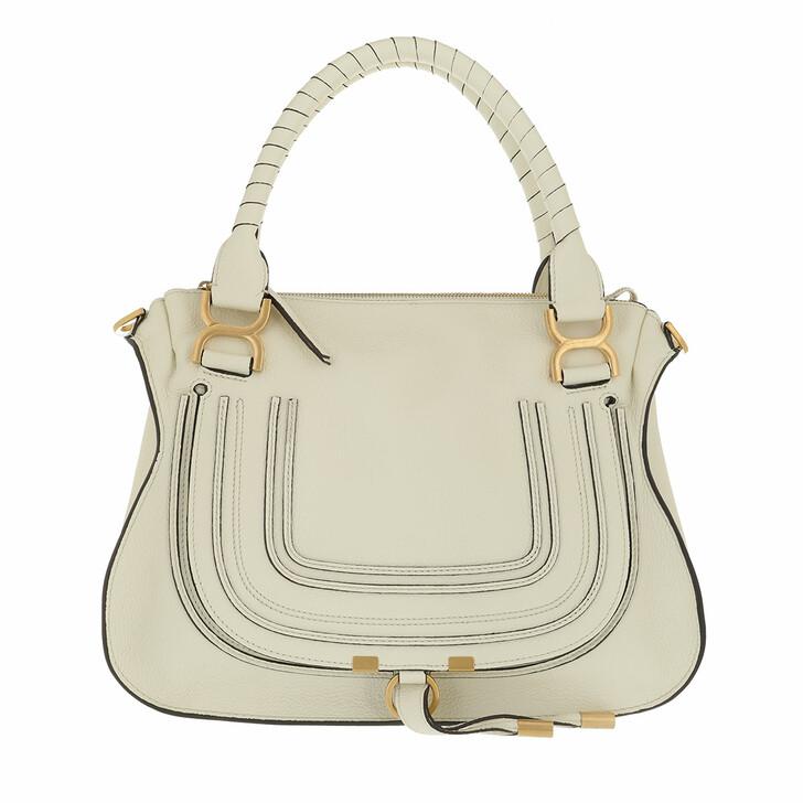 bags, Chloé, Marcie Handbag Grained Calfskin Leather Natural White