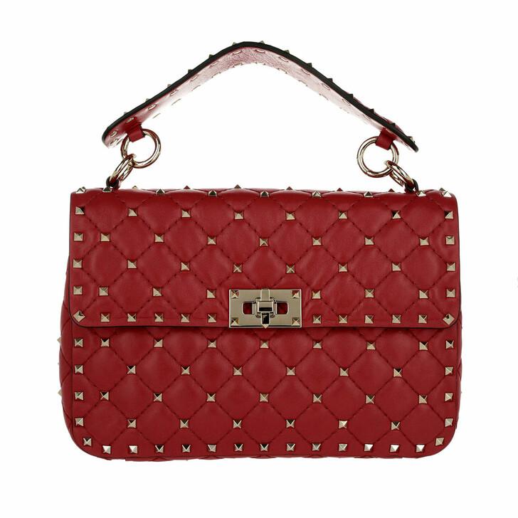 bags, Valentino Garavani, Rockstud Spike Medium Clutch Lambskin Red