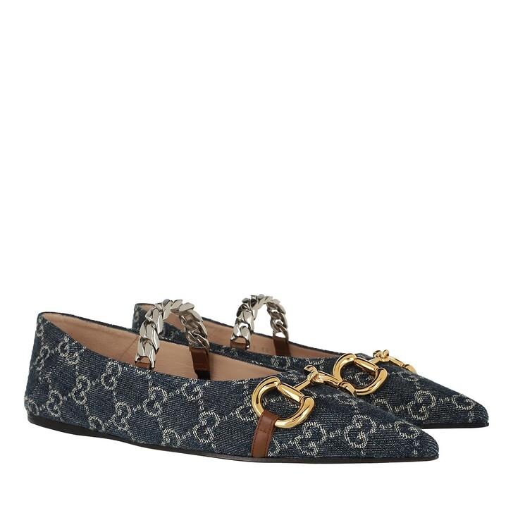 Schuh, Gucci, GG Horsebit Ballet Flats Blue Tea