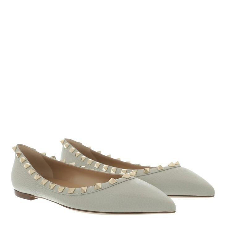 shoes, Valentino Garavani, Rockstud Grained Leather Ballerina Opal Grey