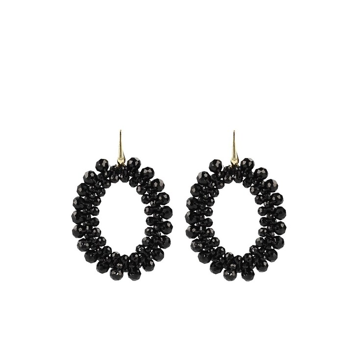 Ohrring, LOTT.gioielli, Glassberry peyote oval black Gold