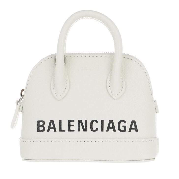 Handtasche, Balenciaga, Mini Top Handle Bag Leather White Black