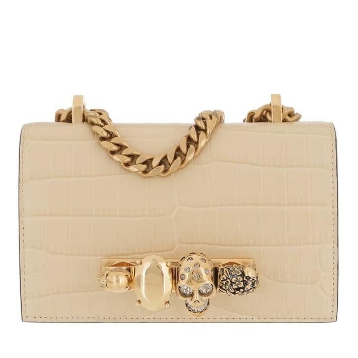 bags, Alexander McQueen, Mini Jewelled Satchel Bag Dark Beige