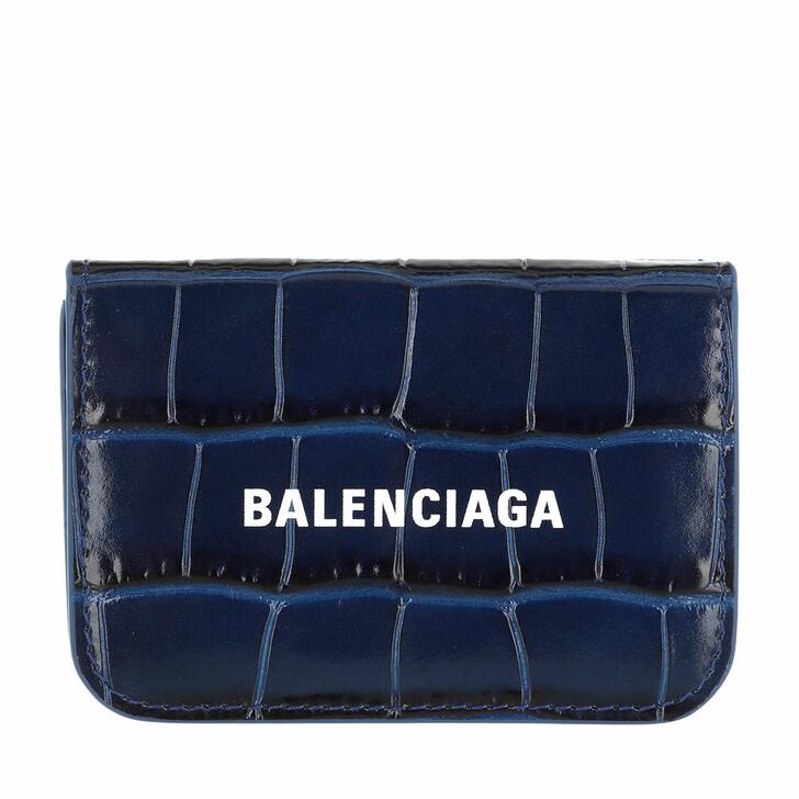 Geldbörse, Balenciaga, Mini Logo Cash Wallet Leather Blue