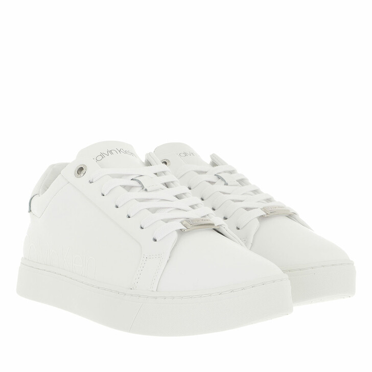 shoes, Calvin Klein, Cupsole Lace Up Logo Triple White