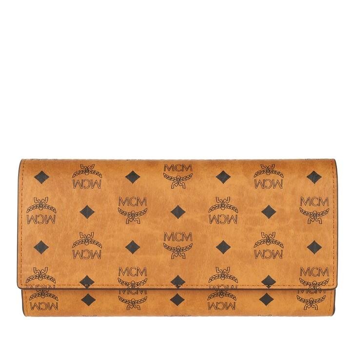 wallets, MCM, Visetos Original Large Trifold Wallet Cognac