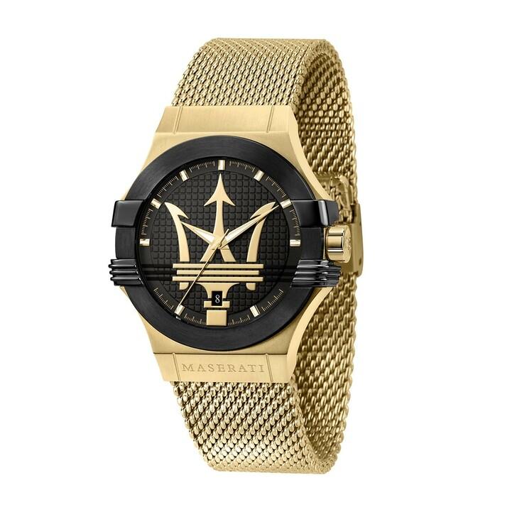 watches, Maserati, Potenza 42mm 3h Black Dial Mesh Gold