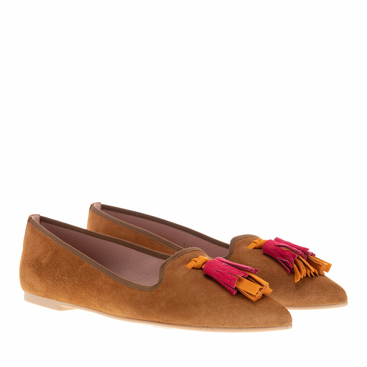 Schuh, Pretty Ballerinas, Ella Ballerina Shoes Cognac Multicolour Tassel