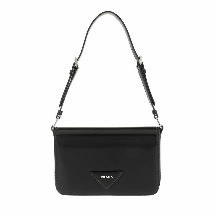 bags, Prada, Brushed Shoulder Bag Leather Black