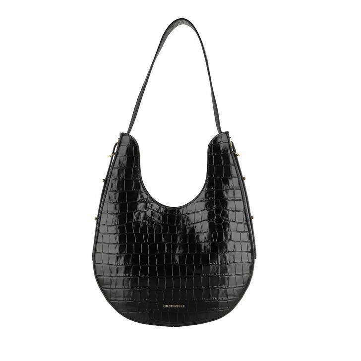 Handtasche, Coccinelle, Bagatelle Croco Shiny Soft Shopper Noir