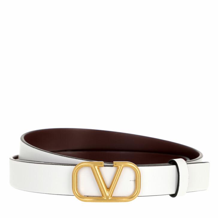 belts, Valentino Garavani, V Logo Belt Calfskin White Red