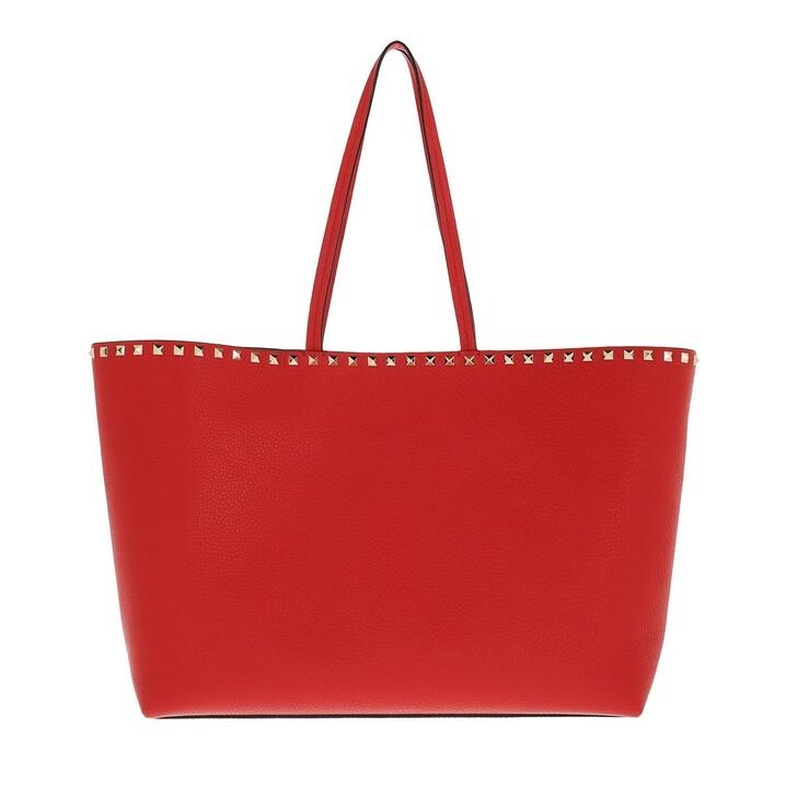 bags, Valentino Garavani, Rockstud Studded Shopping Bag Leather Red