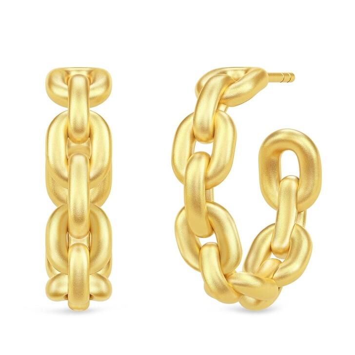 earrings, Julie Sandlau, Link Chain Hoops Yellow Gold