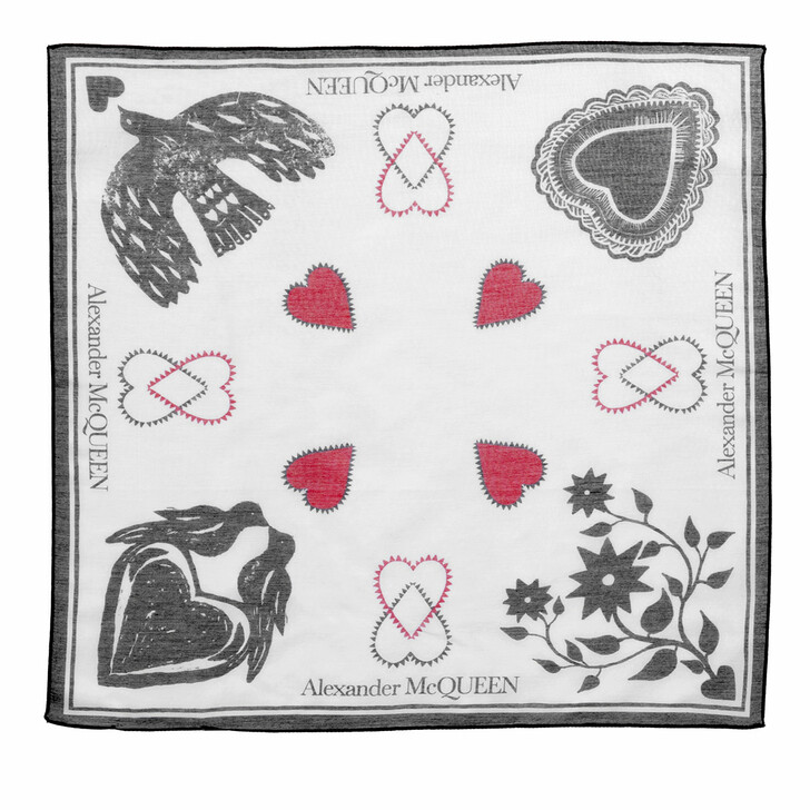 scarves, Alexander McQueen, Mystic Bandana Ivory/Black