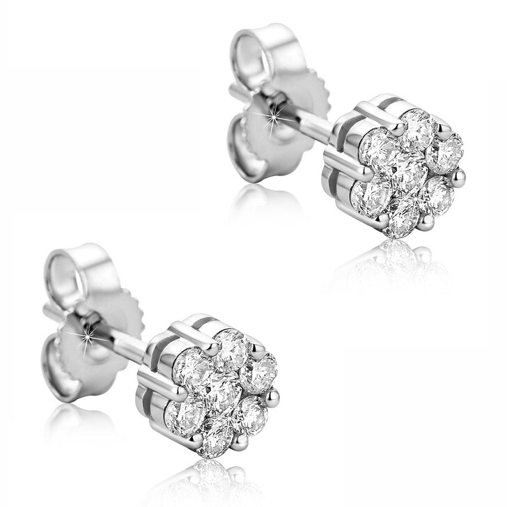 Ohrring, DIAMADA, 0.38ct Diamond Stud Earring  14KT White Gold