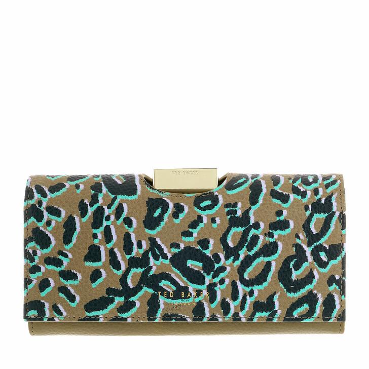 wallets, Ted Baker, Naadia Leopard Detail Large Bobble Purse Olive