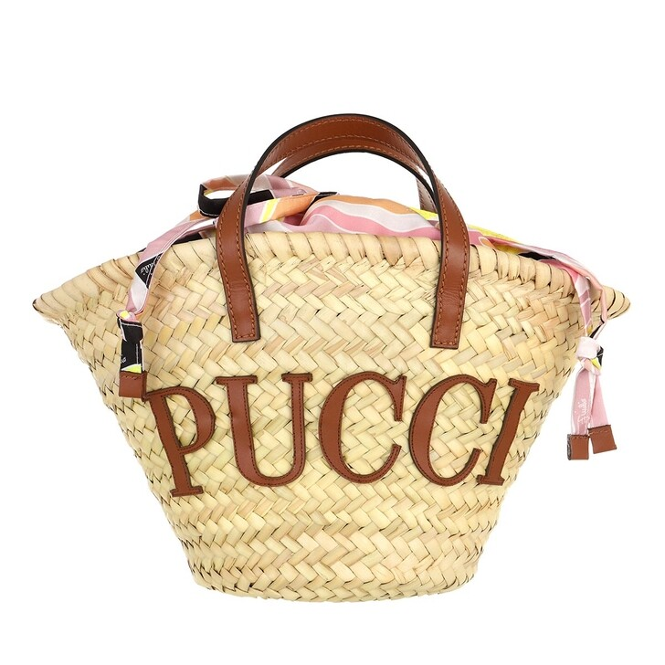 Handtasche, Emilio Pucci, Bucket Bag Solid Naturale+Rosa/Giallo