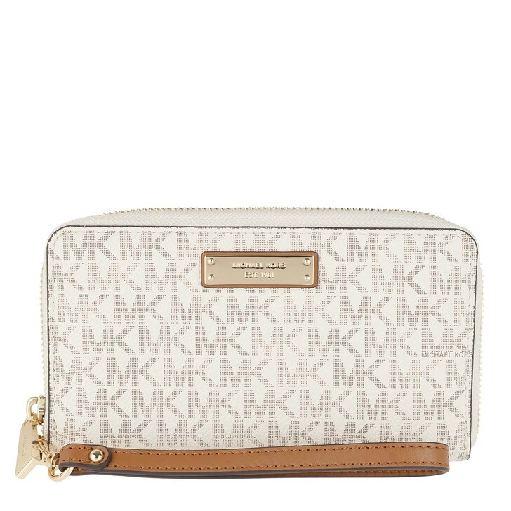 Smartphone/Tablet case (Bag), MICHAEL Michael Kors, Jet Set Large Flat Multifunction Phone Case Vanilla