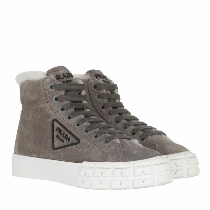 shoes, Prada, High Top Sneakers Grey