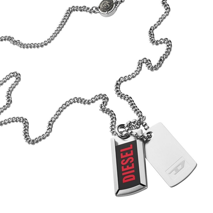Kette, Diesel, Stainless Steel Double Dog Tag Necklace Silver